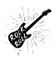 vintage rock and roll grunge label with guitar vector image