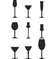 Wineglass silhouette set vector image vector image