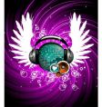wings and headphone vector image vector image