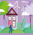 woman with house and turbine wind energy ecology vector image