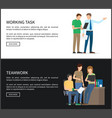working task and teamwork set vector image
