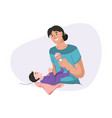 young mother playing toy with her newborn baby vector image