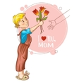 Little boy gives bouquet of tulips at mothers day vector image