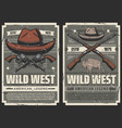 american wild west cowboy saloon and gun vector image vector image