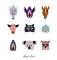 animals monsters and beast halloween masks set vector image vector image
