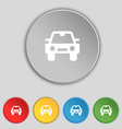 Auto icon sign Symbol on five flat buttons vector image vector image
