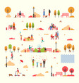 autumn people fall trees park isolated set vector image