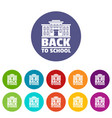 back to school icons set color vector image