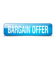 bargain offer blue square 3d realistic isolated vector image vector image