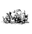 black ink drawing vector image