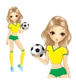 Blonde Brazilian Soccer Girl vector image