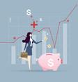 businesswoman put coin piggy bank money vector image vector image