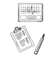 Cardiogram medical history thermometer sketches vector image