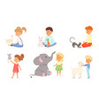 children playing feeding and petting different vector image vector image