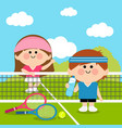children tennis players at tennis court vector image vector image
