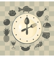 clock and different dishes vector image vector image