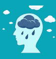 cloud and rain drops inside the head vector image vector image