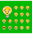 Collection of difference emoticon bulb lamp vector image vector image