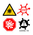 coronavirus 2019-ncov corona virus icons warning vector image vector image