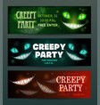 creepy party banners layouts set scary vector image