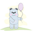 cute blue bear with pink ball vector image