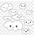 Cute Clouds coloring page vector image vector image