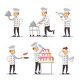 cute cook cartoon character set man cooking vector image vector image