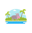 cute elephant on african landscape tropical vector image