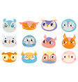 cute owl faces set face owl fun drawing vector image