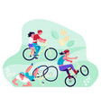 cyclists at bike ride concept vector image vector image