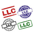 damaged textured llc stamp seals vector image vector image