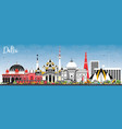delhi india city skyline with color buildings and vector image vector image
