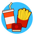 fast food combo icon with french fries and soda on vector image
