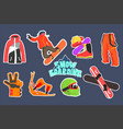 flat set of snowboarding icons helmet and vector image
