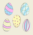 hand drawn color easter eggs vector image vector image