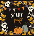 hand drawn vintage halloween greeting card vector image