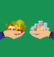 hands giving medicines and healthy food food vector image