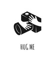 hands hugging camera love photo concept vector image vector image