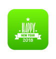 happy new year lettering icon green vector image vector image