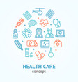 health care color round design template line icon vector image vector image