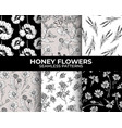 honey flowers modern seamless patterns collection vector image vector image