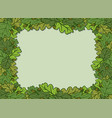 horizontal decorative frame with green oak leaves vector image