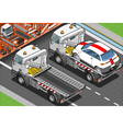 Isometric Tow Truck in Car Assistance in Rear View vector image