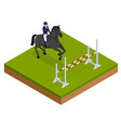jumping horse and rider practicing at racetrack vector image