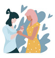 marriage proposal lesbian couple woman with vector image