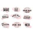 meat food icons with lettering vector image vector image