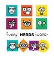 Nerds icon set with funny faces in glasses pencil vector image