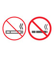 no smoking line and glyph icon prohibition vector image