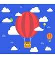 Retro hot air balloon fly sky background vector image