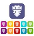 royal shield icons set
